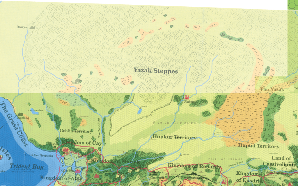 Savage Baronies poster map (65% opacity) layered on top of X5 and my Savage Coast 8 mile per hex trail map