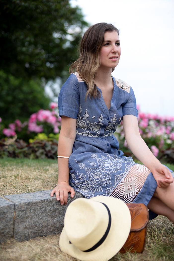 Anthropologie dress worn by Toronto Blogger in the Toronto Music Garden