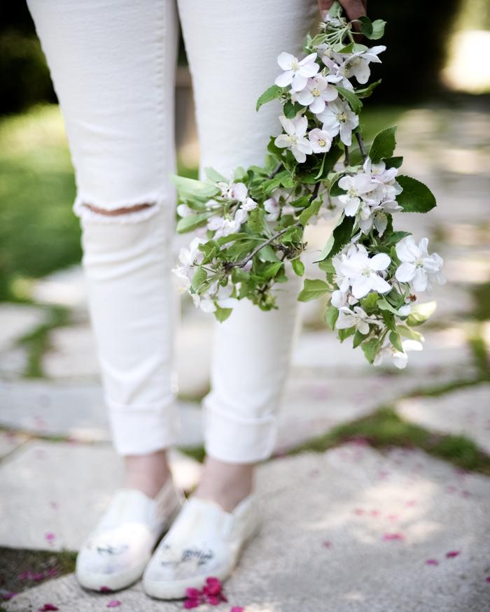 Apple blossoms use in flower arrangement