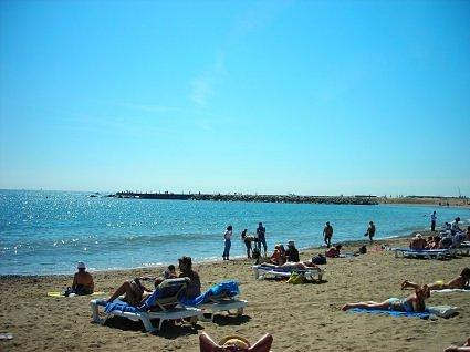 at the beach in barcelona