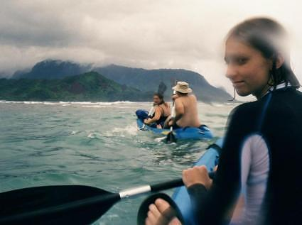 Kayaking back to Hanalei River