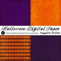 31 Days of Halloween Digital Goodies - Halloween Digital Paper Pack Vampire Violet
