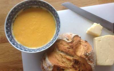 Raw Carrot, Apple and Cashew soup, with a Walnut Loaf & butter, 65p per serving. Plus how to stay on budget for the day