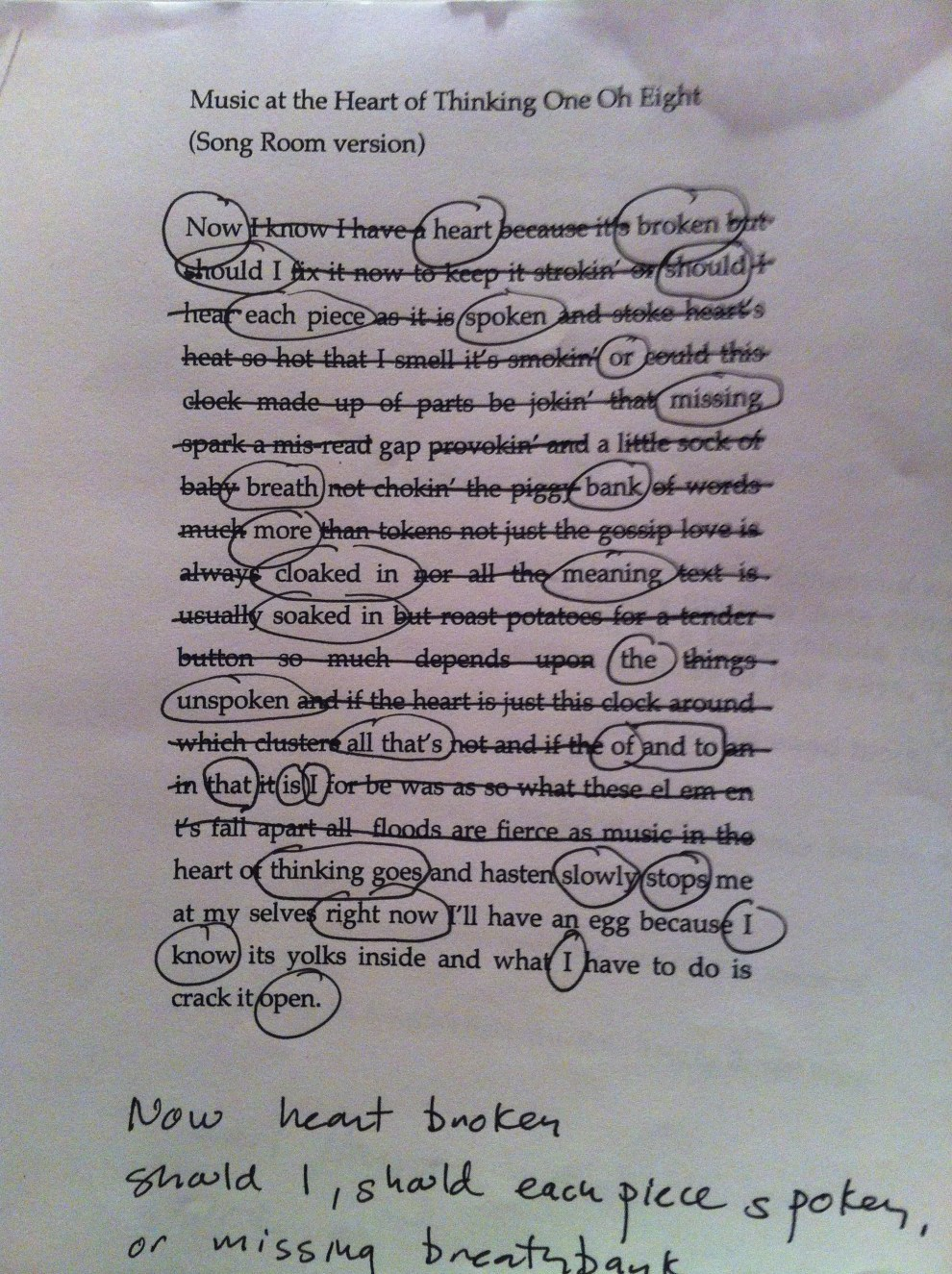 An erasure of Fred Wah's text leads to a a new text. The circled words are the ones that comprise the new poem.