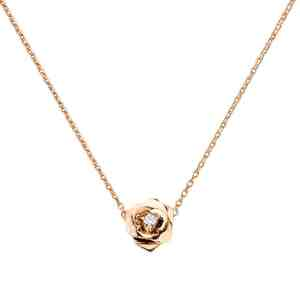 Perhiasan emas berlian white gold 18K diamond rose pendant