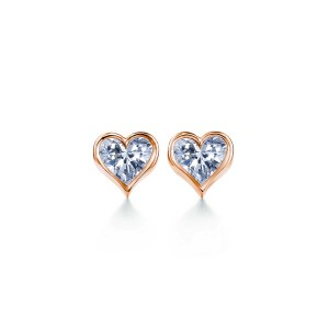 Perhiasan emas berlian white gold 18K diamond gemstone earring Heart to Heart