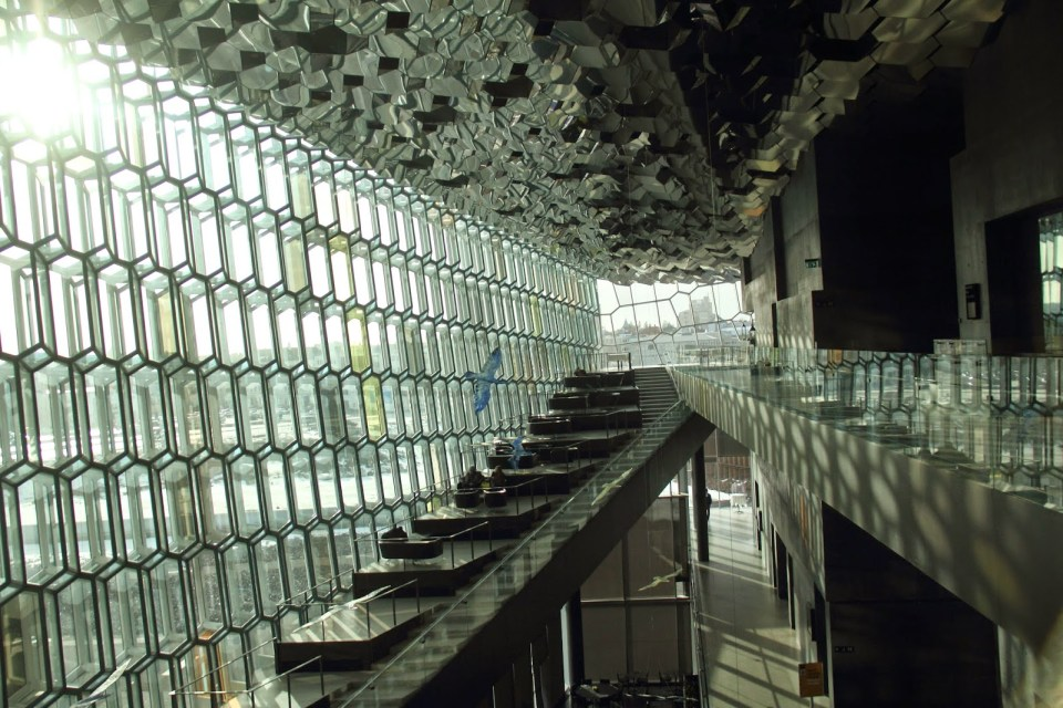 Glass interiors of the Harpa