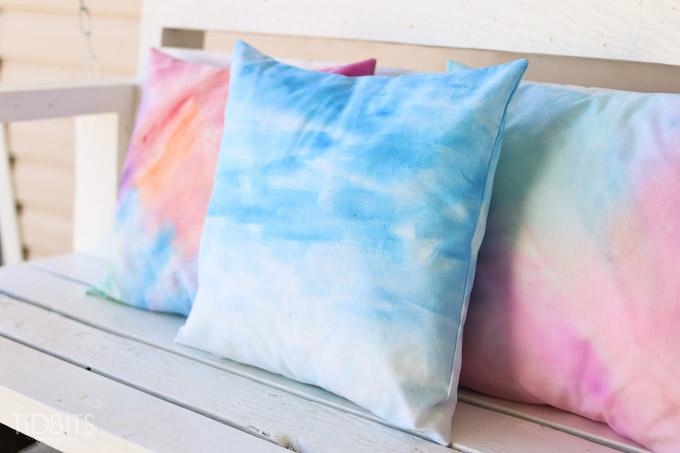 Watercolored pillows by Tidbits
