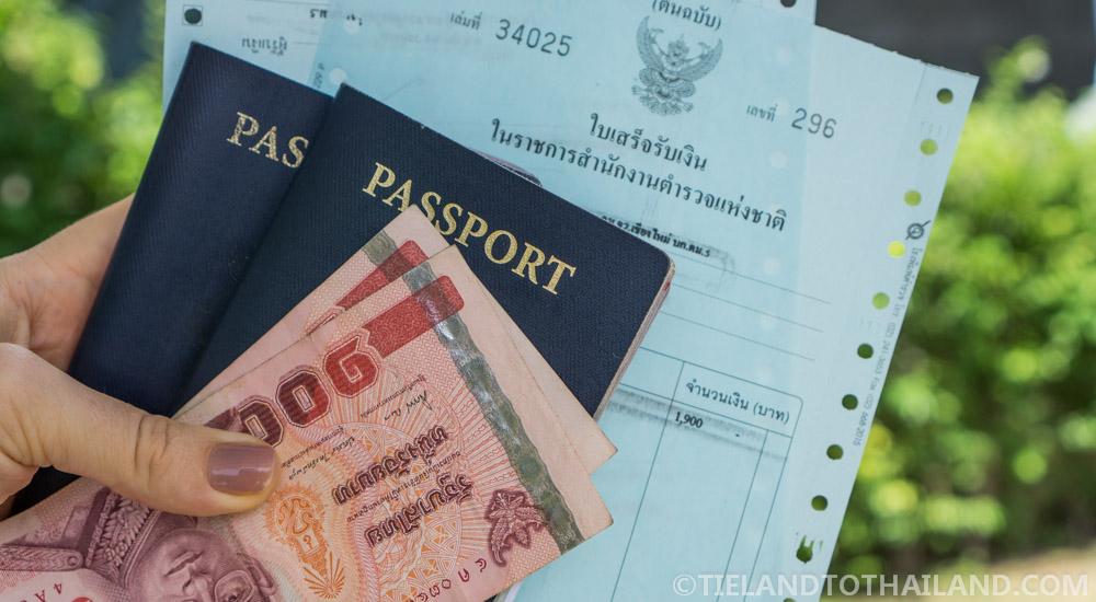 Thai Visa Extension Receipt