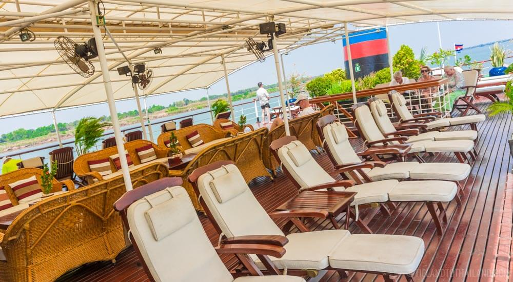Relaxing on the Sun Deck of our Mekong River cruise