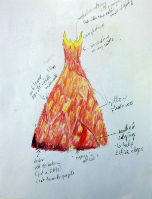 working design for Phoenix Rising dres