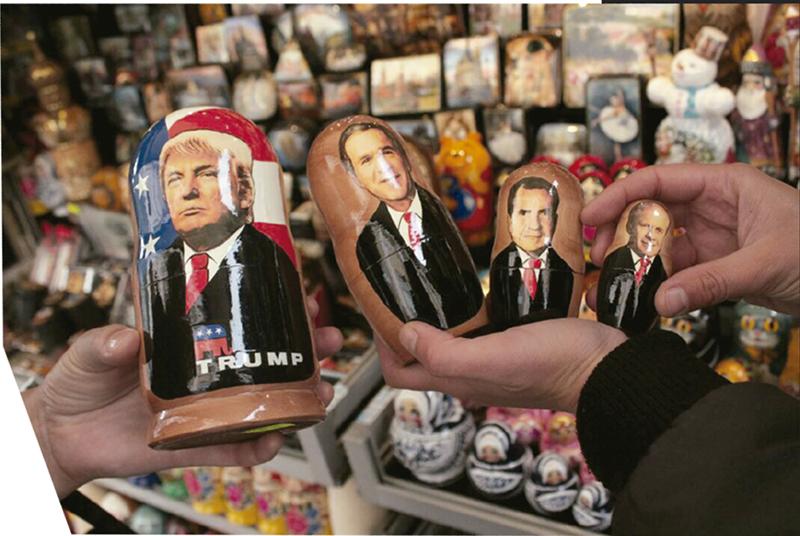 Matrioshka de Donald Trump, con George Bush, Richard Nixon y Gerald Ford en el interior