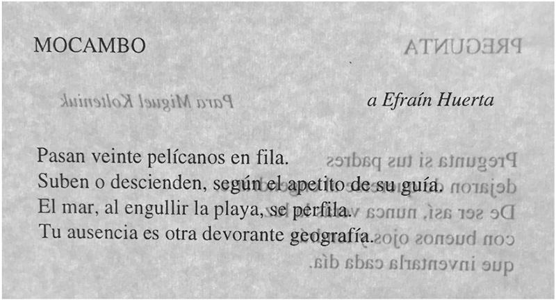 «Mocambo» en Poesía reunida, México, UNAM, 1996, p. 542.