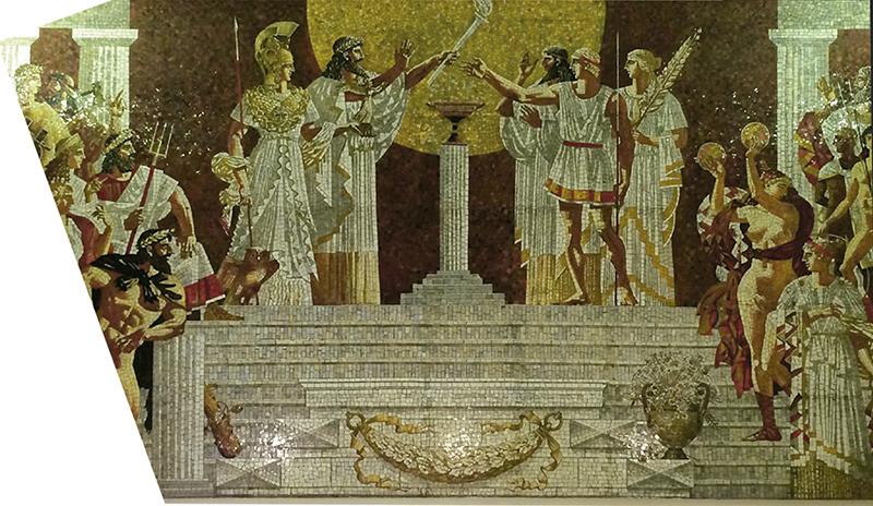 Mural de mosaico dentro del metro Sportivnaya, a un lado del estadio Petrovsky
