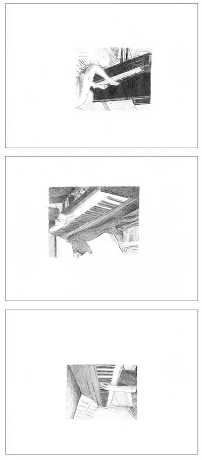 Transcripción para piano (cover), Yasuaki Fuyita, Mega Man 3, Capcom, 1991 , [Password], [Shadow Man] y [Title] . Bolígrafo sobre papel. 28 x 21 cm. 2012