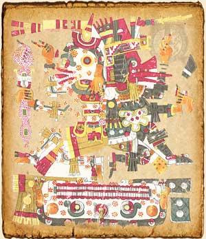 Mictlantecuhtli en el Códice Borgia - Mitología Azteca
