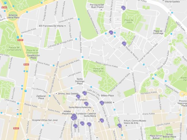 mapa ruta por los murales de vitoria-gasteiz