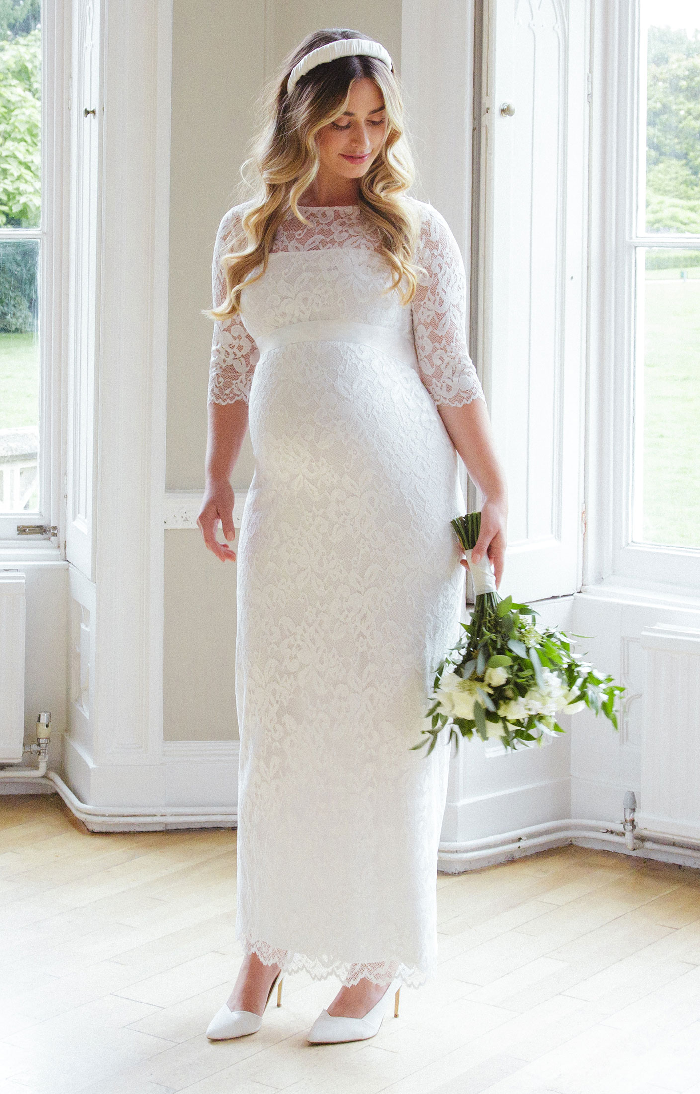 Amelia Lace Maternity Wedding Dress Long (Ivory) maternity dresses for wedding Amelia Lace Maternity Wedding Dress Long Ivory Maternity Wedding Dresses Evening Wear and Party Clothes by Tiffany Rose