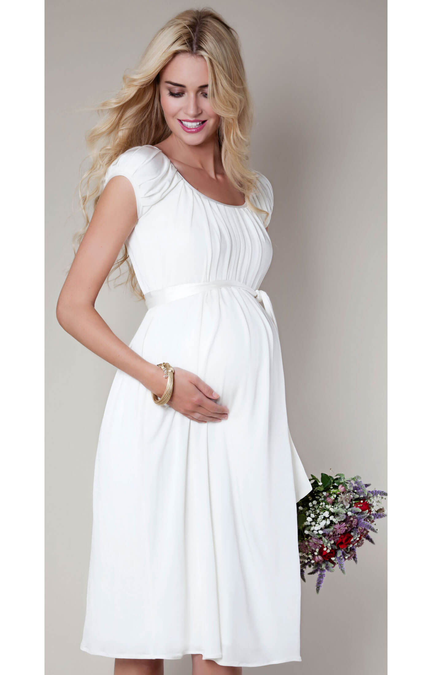 Claudia Maternity Gown Short (Ivory) maternity dresses for weddings Claudia Maternity Gown Short Ivory Maternity Wedding Dresses Evening Wear and Party Clothes by Tiffany Rose