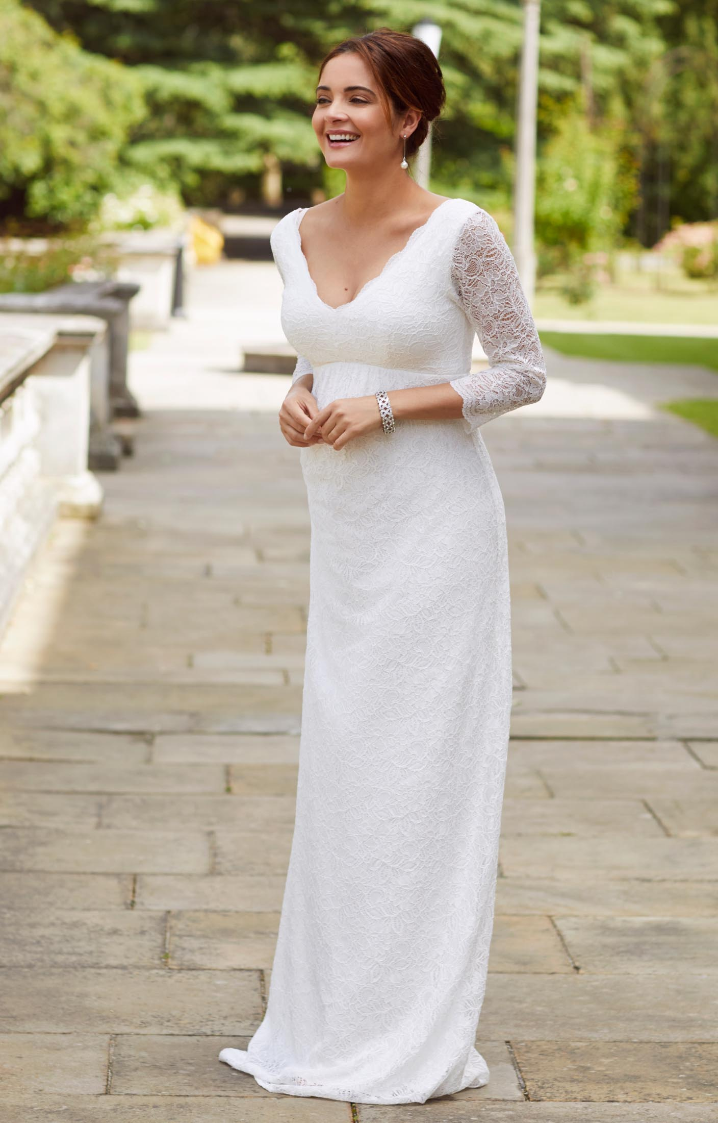 wedding dresses wedding dresses with lace Chloe Lace Maternity Wedding Gown Ivory