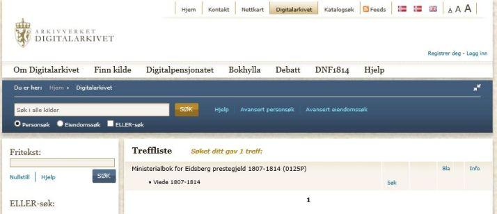 Fra digitalarkive - etter søking av kirkebøker i fra Eidsberg