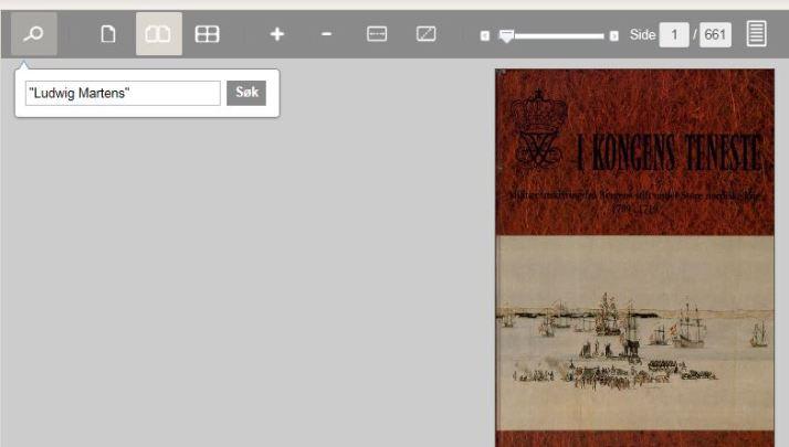 Slik søker jeg inne i e-boken ved å trykke på lupen øverst til venstre