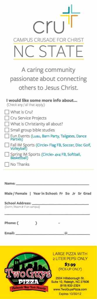 Cru Freshmen Survey Card (NCSU)