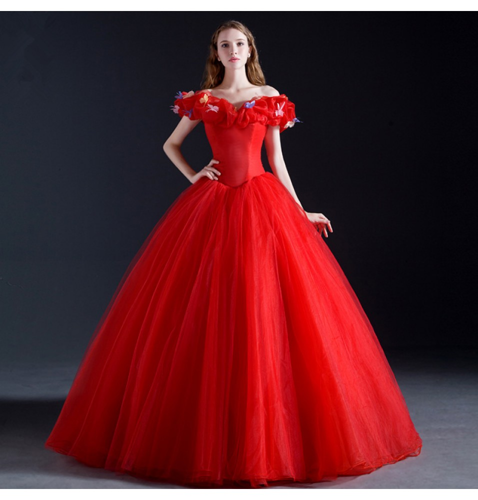 cinderella costume cinderella wedding dress costume 35 Off Disney Cinderella Wedding Red White Dress Cosplay Costumes Deluxe Version