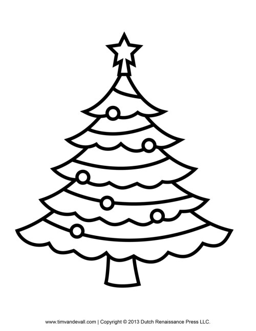 Medium Of Christmas Tree Coloring Page