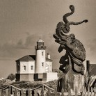 Octopus Sculpture and Coquille River Lighthouse, Bandon, Oregon