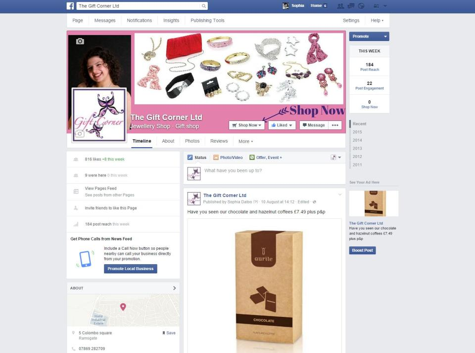 Facebook business set up for Gift Corner