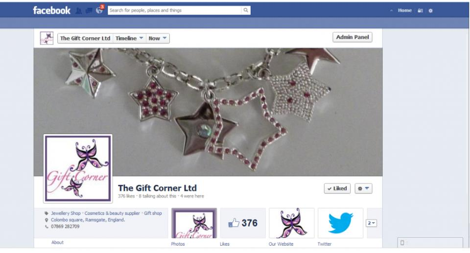 Facebook set up for Gift Corner
