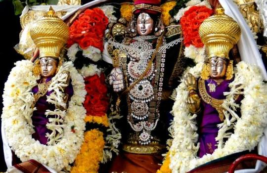 Holy Lord Venkateswara With Sridevi  And Bhoodevi