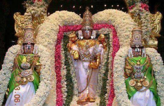 Lord Sri Venkateswara With Sri Devi And Bhudevi