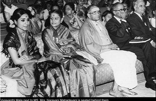 Renowned-Hindi-Film-Actress-Vijayanthi-Mala-With-M.S.Subbu-Lakshmi-And-Sada-Sivam
