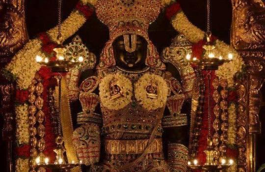 Lord Sri Venkateswara Decorated With Diamond Jewelry