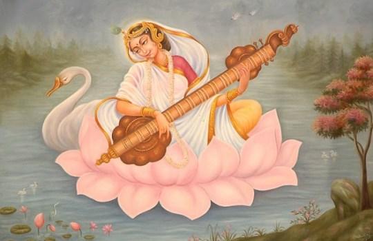 Painting Of Goddess Saraswathi