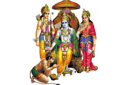 Lord Hanuman With Sri Ram And Sita