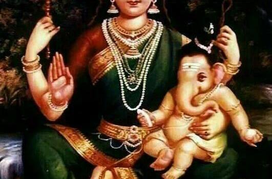 Hindu Goddess Parvathi With Her Son Lord Ganesha
