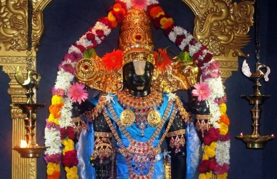 A Colorfully Dressed And Well-Decorated Lord Sri Vekateswara Idol