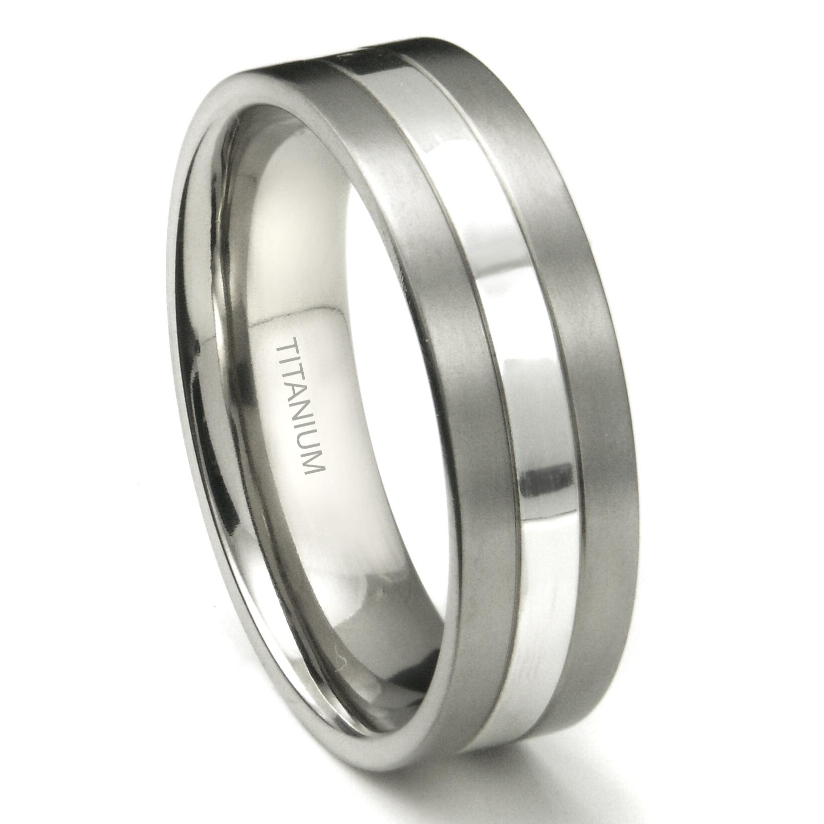 Titanium 7mm Two Tone Wedding Ring P titanium wedding band Home Men s Titanium Wedding Rings Loading zoom