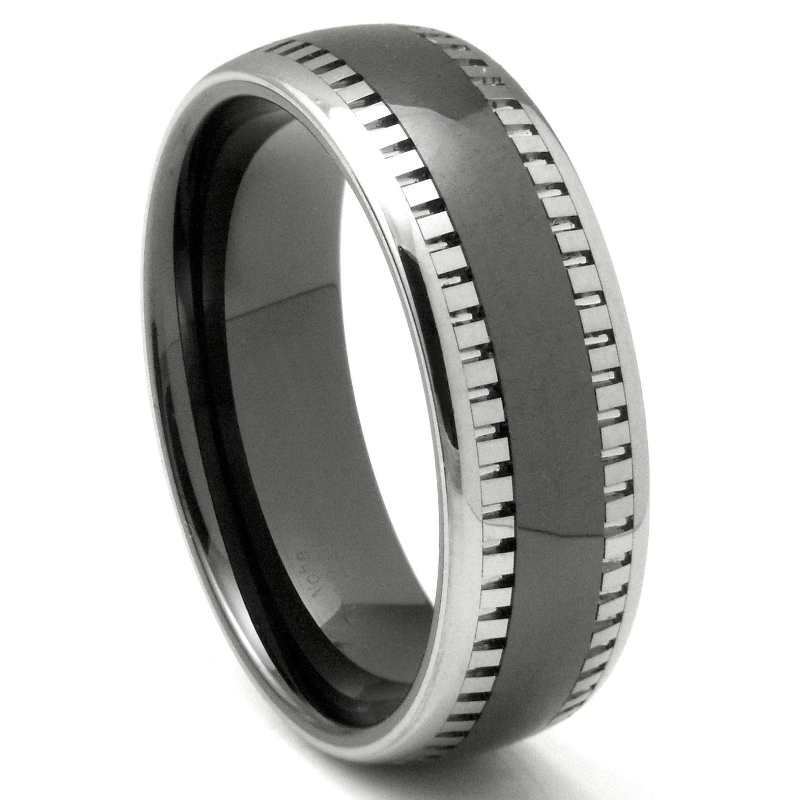 2nd Generation Tungsten Carbide Two Tone Milgrain Dome Wedding Band Ring P tungsten carbide wedding rings Home Men s Tungsten Carbide Rings Loading zoom