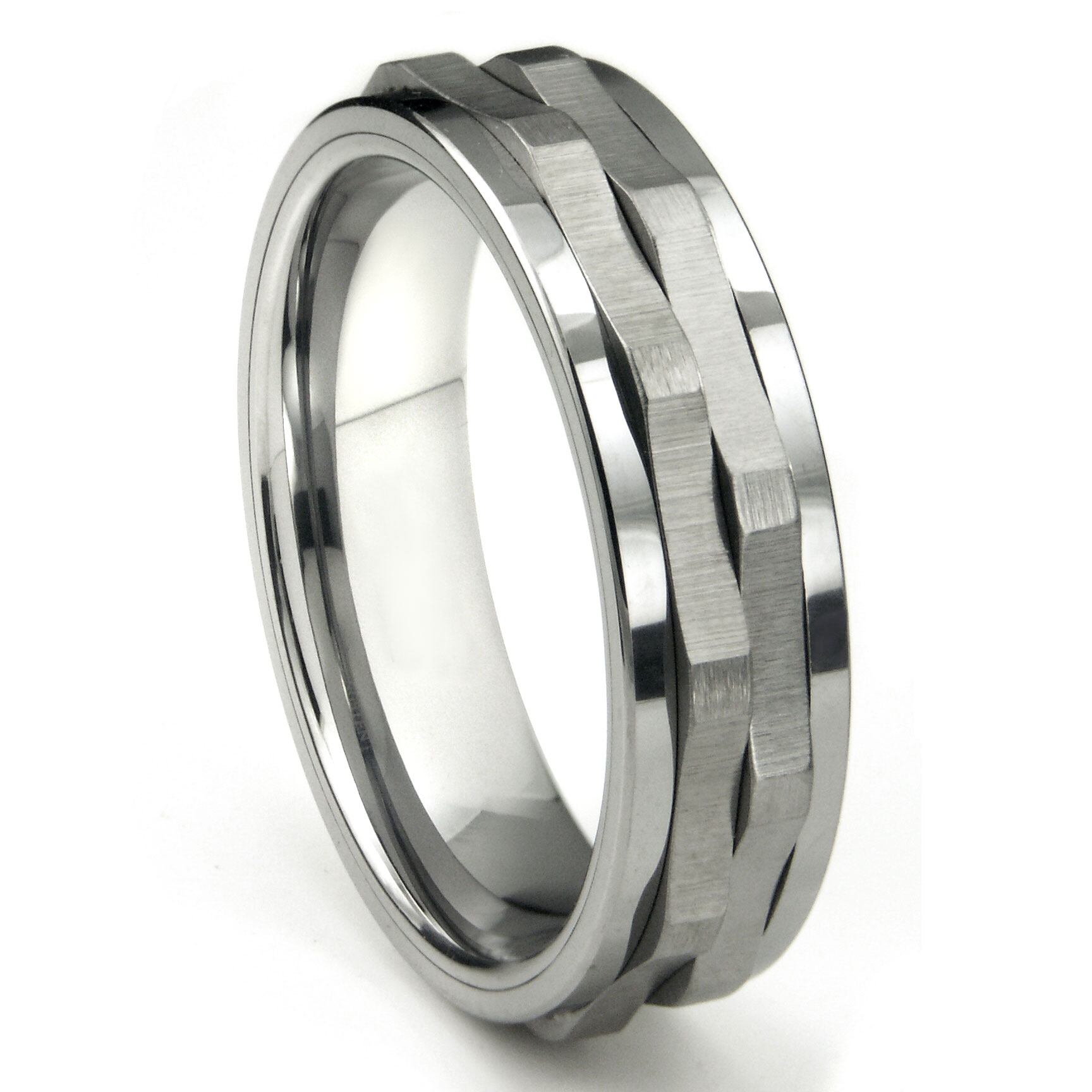 Ninja Star Tungsten Carbide Spinning Wedding Band Ring P tungsten carbide wedding rings Home Men s Tungsten Carbide Rings Loading zoom