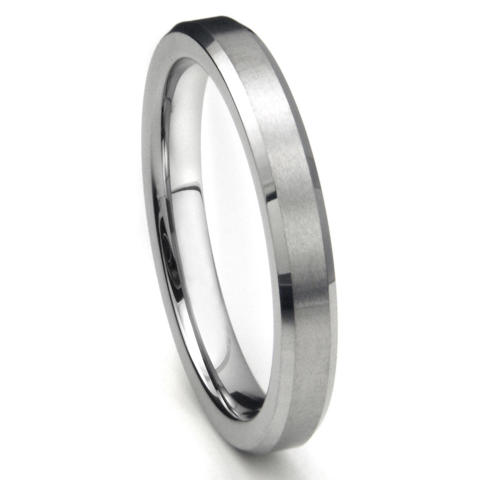 Tungsten Carbide 4MM Beveled Brush Finish Wedding Band Ring P tungsten carbide wedding rings Home Men s Tungsten Carbide Rings Loading zoom