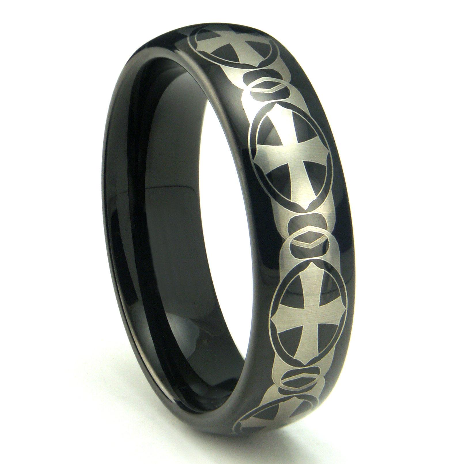 Black Tungsten Carbide Laser Engraved Celtic Cross Dome Wedding Band Ring P walmart wedding ring sets Loading zoom