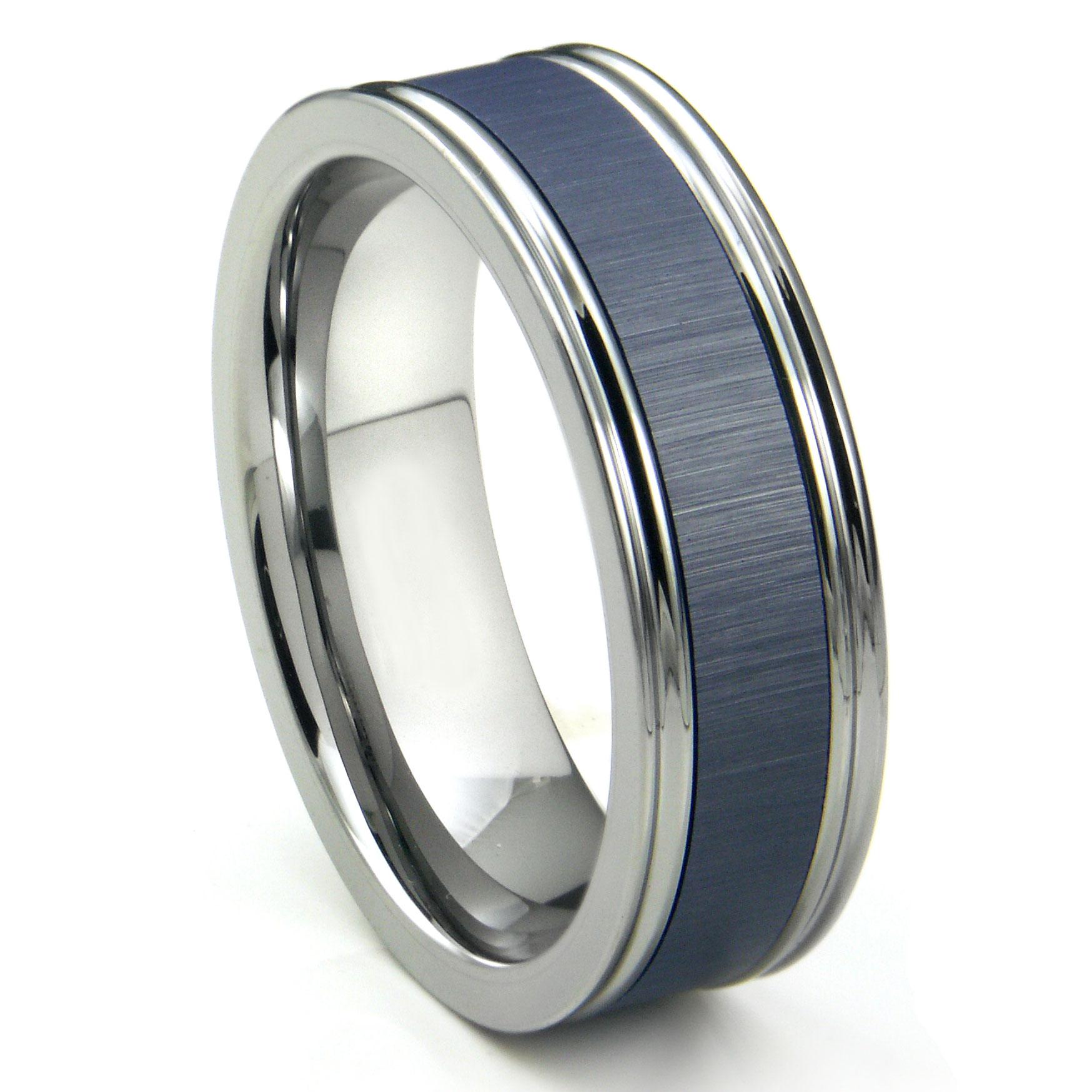 Tungsten Carbide Blue Ceramic Inlay Wedding Band Ring w Horizontal Satin Finish P blue wedding rings Loading zoom