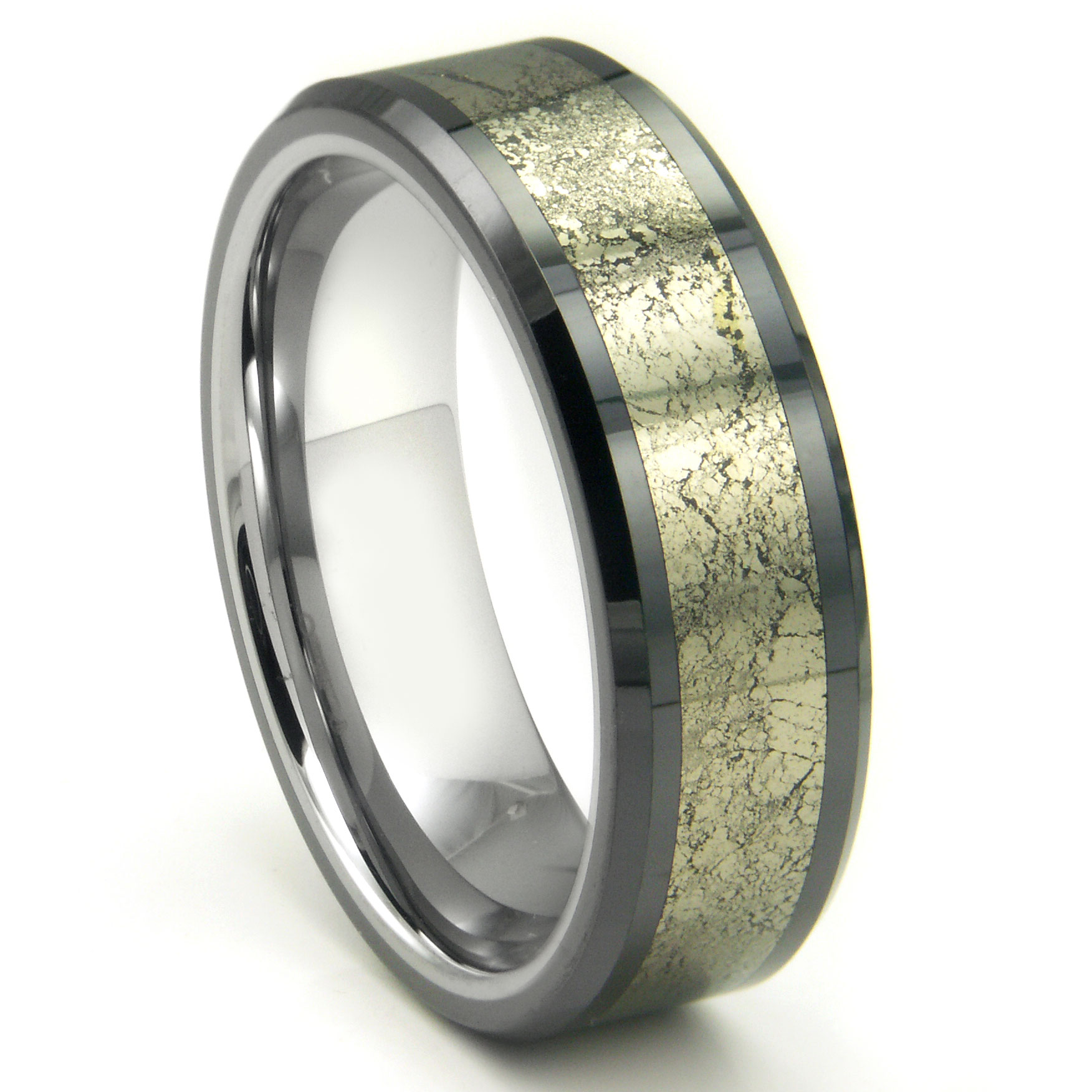 Tungsten Carbide Golden Meteorite Inlay Wedding Band Ring P mens titanium wedding bands Home Men s Tungsten Carbide Rings Loading zoom