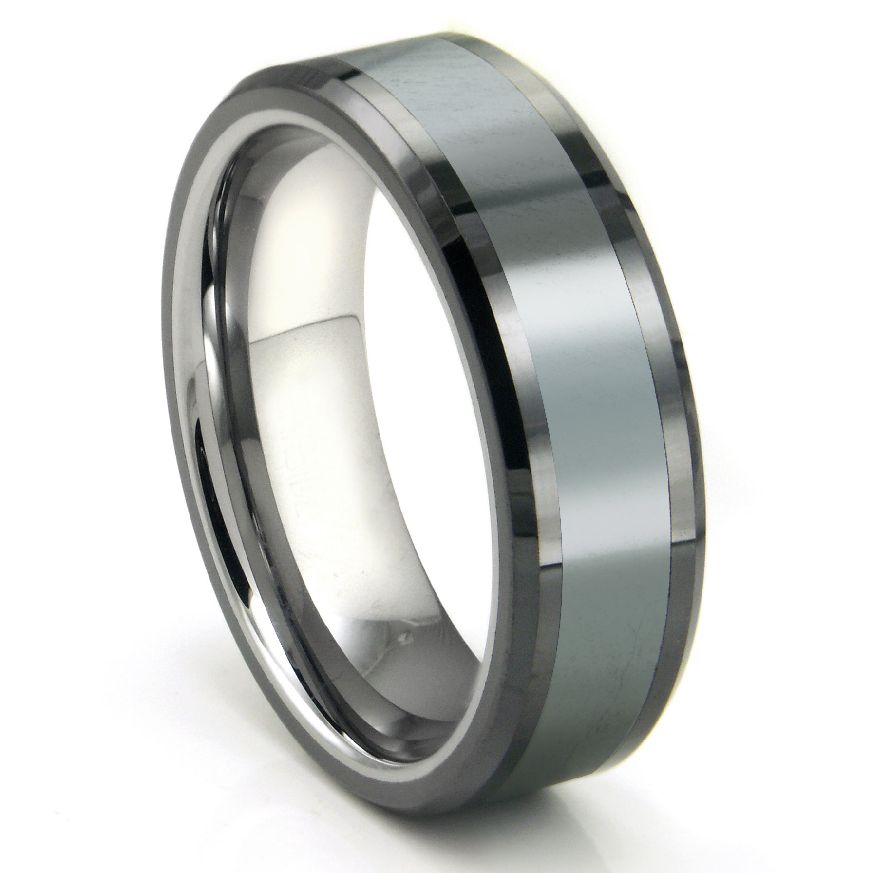 Tungsten Carbide Grey Meteorite Inlay Wedding Band Ring P mens titanium wedding bands Home Men s Tungsten Carbide Rings Loading zoom