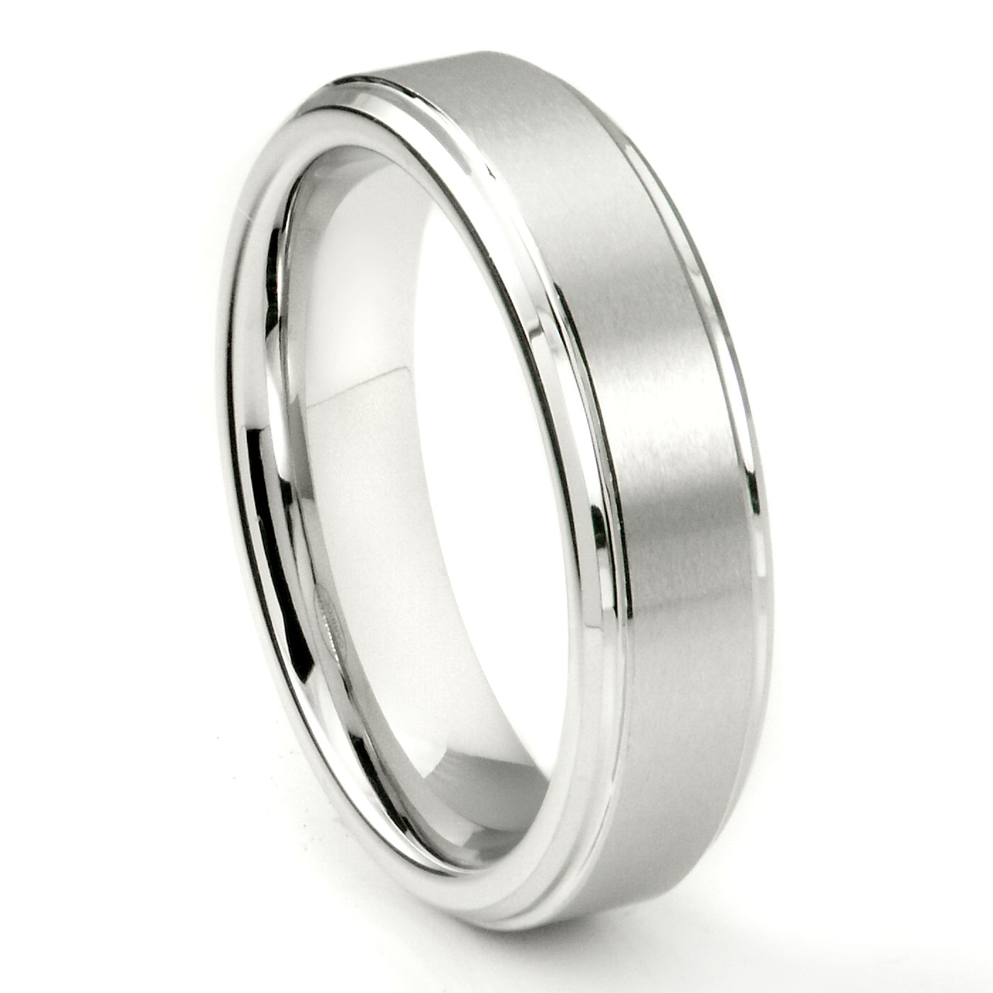 White Tungsten Carbide 6MM Wedding Band Ring w Raised Center P tungsten carbide wedding rings Home Men s Tungsten Carbide Rings Loading zoom
