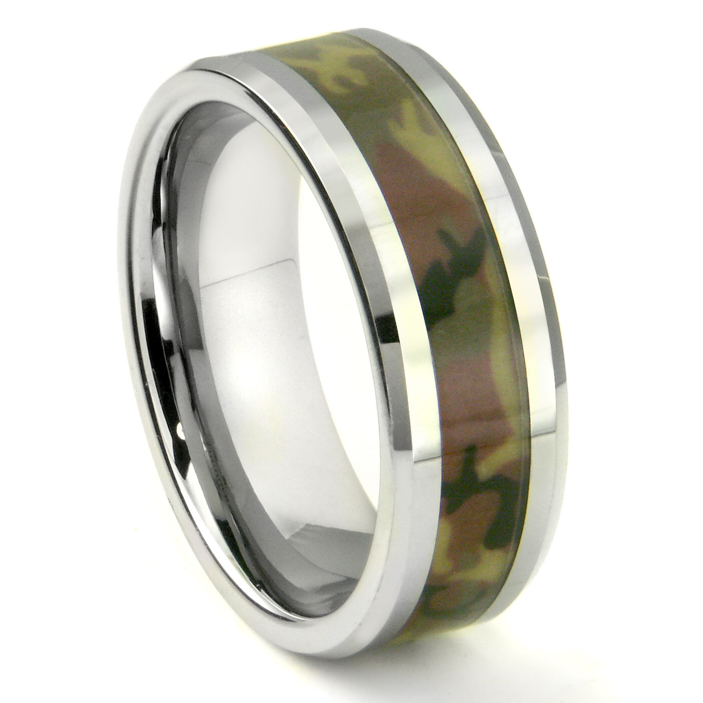 Tungsten Carbide MILITARY US WOODLAND CAMOUFLAGE Wedding Ring P military wedding rings Loading zoom